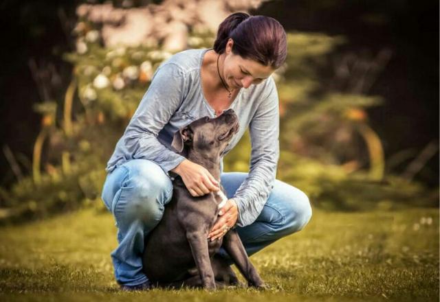 Frau und Hund Gefährten